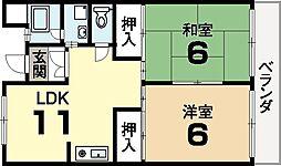 城陽ハイデンス[3階]の間取り