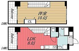 JR内房線 五井駅 徒歩5分の賃貸マンション 9階1LDKの間取り