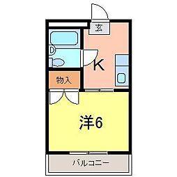 メゾン・ド二宮B[204号室]の間取り