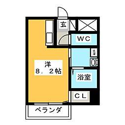 岡山県岡山市北区北方1の賃貸マンションの間取り