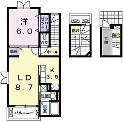 埼玉県川口市北原台2丁目の賃貸アパートの間取り