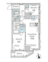 東京メトロ銀座線 表参道駅 徒歩13分の賃貸マンション 5階2LDKの間取り