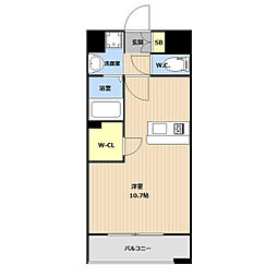 LIBTH(リブス)平尾II 12階ワンルームの間取り