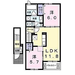 福岡県直方市大字頓野の賃貸アパートの間取り
