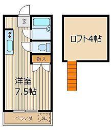 埼玉県志木市柏町5丁目の賃貸アパートの間取り