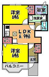 大阪府河内長野市小塩町の賃貸アパートの間取り