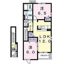 JR東海道・山陽本線 河瀬駅 徒歩5分の賃貸アパート 2階2LDKの間取り