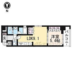 リーガル京都五条大宮401 4階1LDKの間取り