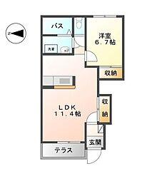 神奈川県相模原市緑区相原3丁目の賃貸アパートの間取り
