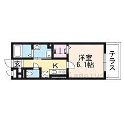 JR東海道・山陽本線 向日町駅 徒歩7分の賃貸アパート 1階1Kの間取り
