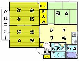 福岡県宗像市土穴3丁目の賃貸アパートの間取り