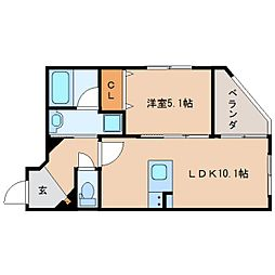 JR東海道本線 静岡駅 徒歩19分の賃貸マンション 3階1LDKの間取り