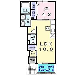 アルカディア藤阪[1階]の間取り