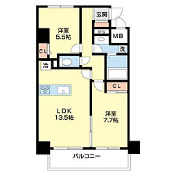 仮)ネオクレンツ川西 7階2LDKの間取り