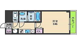 スプランディッド天王寺パークサイド 9階1Kの間取り