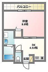京阪本線 萱島駅 徒歩5分の賃貸マンション 2階1DKの間取り