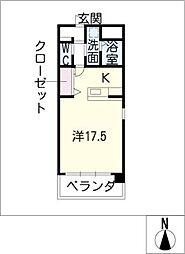 ラ・クルール 2階ワンルームの間取り