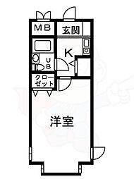シャルマンフジ大和高田壱番館 4階1Kの間取り