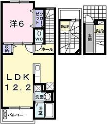 兵庫県姫路市土山6丁目の賃貸アパートの間取り