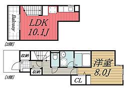JR外房線 茂原駅 徒歩13分の賃貸アパート 1階1LDKの間取り