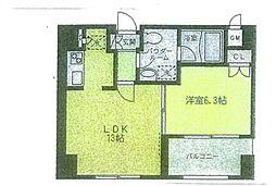 リブレ東新宿 15階1LDKの間取り