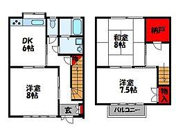 福岡県福津市中央4丁目の賃貸アパートの間取り