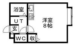北海道札幌市南区川沿六条3丁目の賃貸マンションの間取り