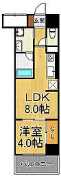 フラクタス尾浜 6階1LDKの間取り