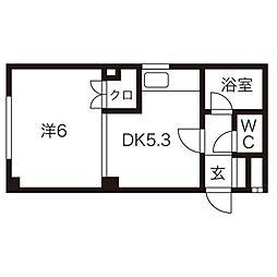 北海道札幌市北区北二十六条西2丁目の賃貸マンションの間取り