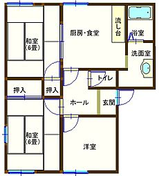 ラフォーレ五十部2 102号室[2階]の間取り