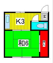 埼玉県川口市並木1丁目の賃貸アパートの間取り