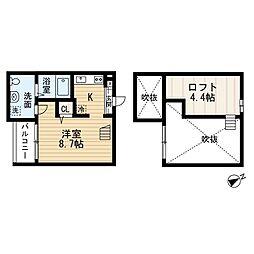 愛知県名古屋市中村区熊野町1丁目の賃貸アパートの間取り