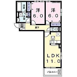 静岡県富士市森島字西側の賃貸アパートの間取り