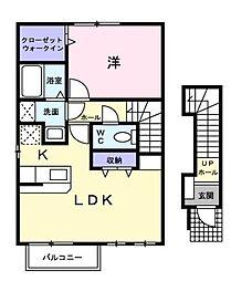 広島県福山市日吉台3丁目の賃貸アパートの間取り