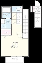 日暮里舎人ライナー 見沼代親水公園駅 徒歩4分の賃貸アパート 2階1Kの間取り