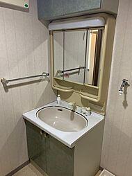独立洗面台です。収納豊富で煩雑になりがちな洗面所も散らかりません。