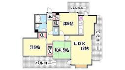 兵庫県神戸市兵庫区東山町4丁目の賃貸マンションの間取り