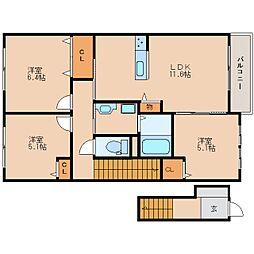 奈良県奈良市五条西1丁目の賃貸アパートの間取り