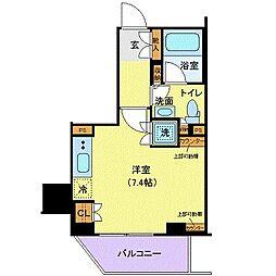 都営浅草線 三田駅 徒歩7分の賃貸マンション 7階ワンルームの間取り
