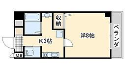 JR阪和線 熊取駅 徒歩3分の賃貸マンション 5階1Kの間取り