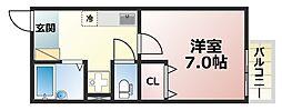 ドマーニ六甲[2階]の間取り