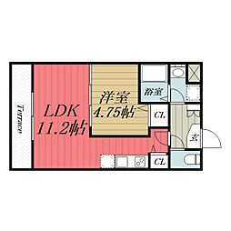 京成千原線 ちはら台駅 徒歩2分の賃貸マンション 1階1LDKの間取り