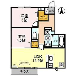 近鉄長野線 富田林西口駅 徒歩28分の賃貸アパート 2階2LDKの間取り