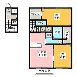 D-room南若松[2階]の間取り