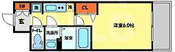 プレサンス南堀江 13階1Kの間取り