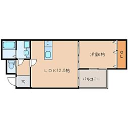 近鉄橿原線 橿原神宮前駅 徒歩2分の賃貸アパート 1階1LDKの間取り