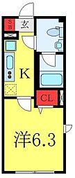 都営三田線 千石駅 徒歩8分の賃貸マンション 1階1Kの間取り