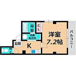 Osaka Metro谷町線 千林大宮駅 徒歩15分の賃貸マンション 3階1Kの間取り