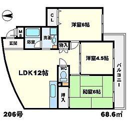 ロゴ緑地 3階3LDKの間取り