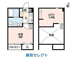 スリジエ 松戸(スリジエ マツド) 2階1Kの間取り